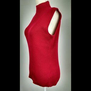 1e18a869c5aa17 croft   barrow Tops - Croft   Barrow Red Ribbed Mock Neck Sleeveless Top